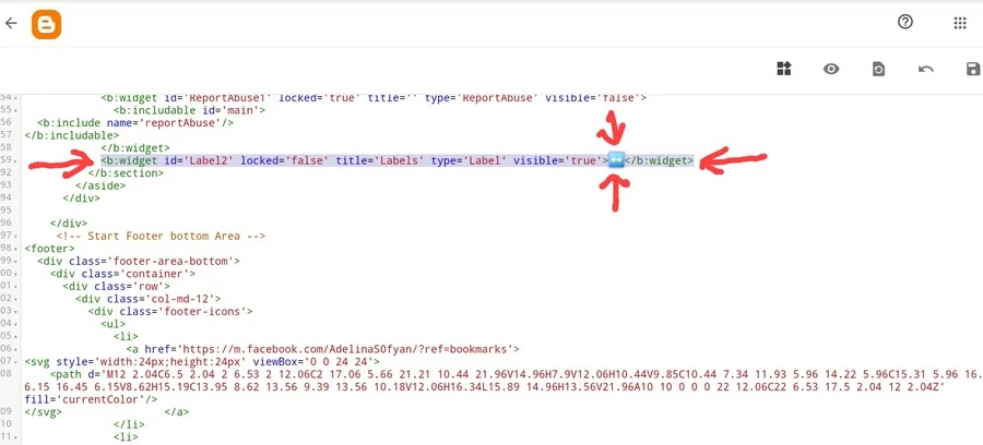 kode Labels di dalam templat blogger