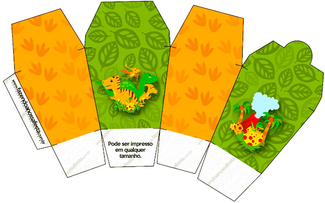 Dinosaurs Party Free Printable Chinese Take Away Box.