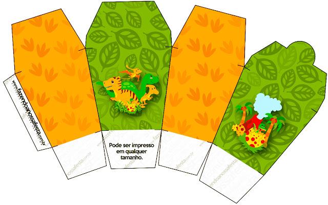 """Caja tipo """"de comida china""""de Fiesta de Dinosaurios."""