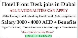 Front Desk Receptionist Recruitment in Dubai