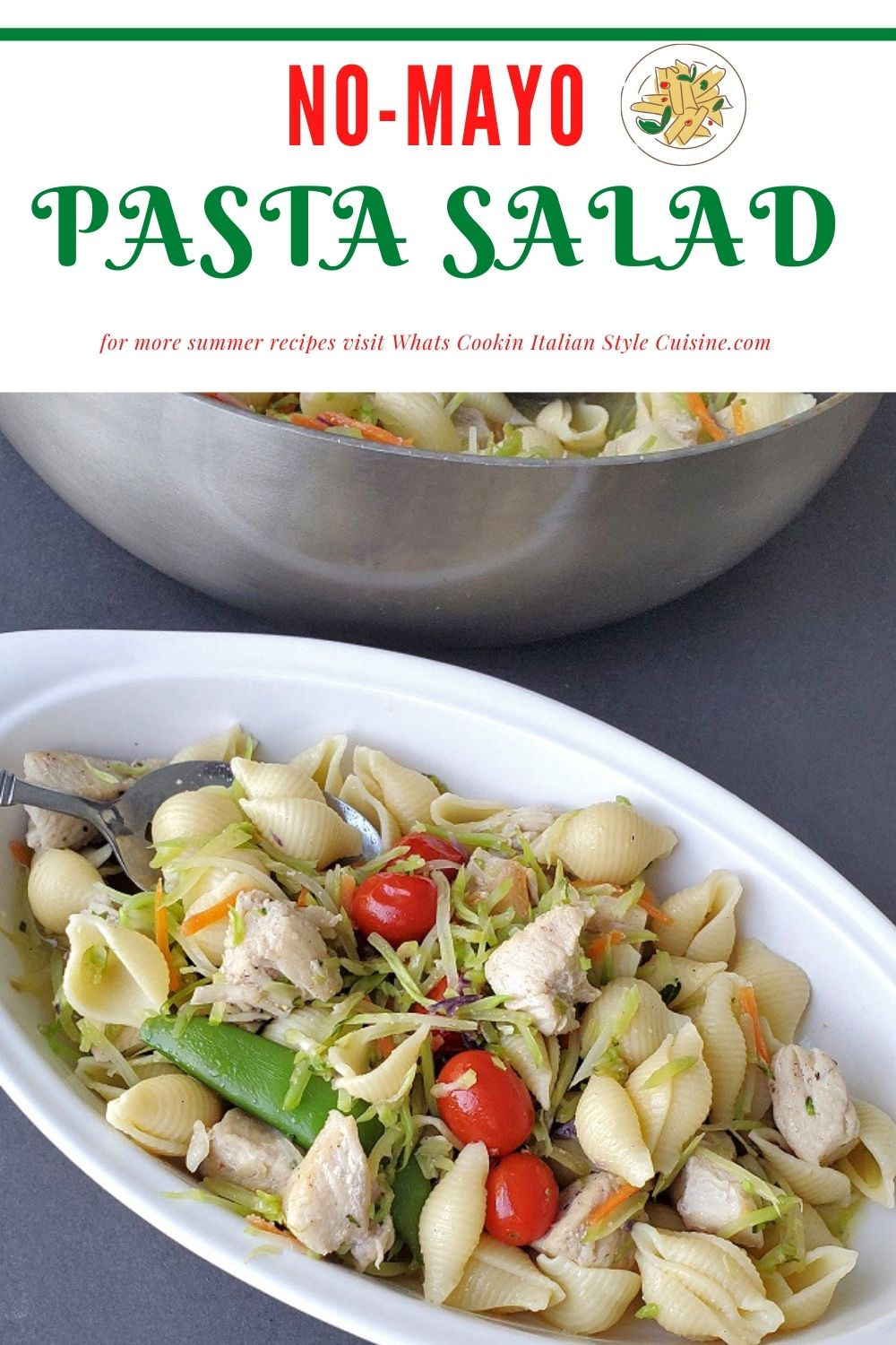 this is a pin for later on how to make a no mayonnaise pasta salad