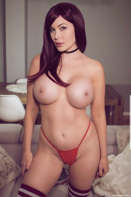 Veronika Black naked on red panties