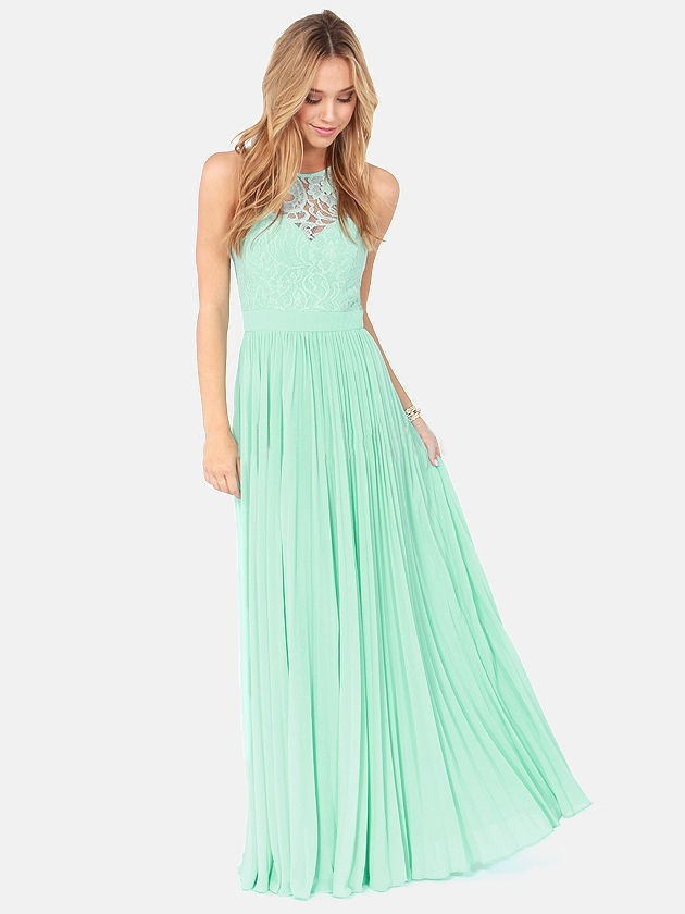 Affordable Scoop Neck Lace Chiffon with Pleats Long Bridesmaid Dresses