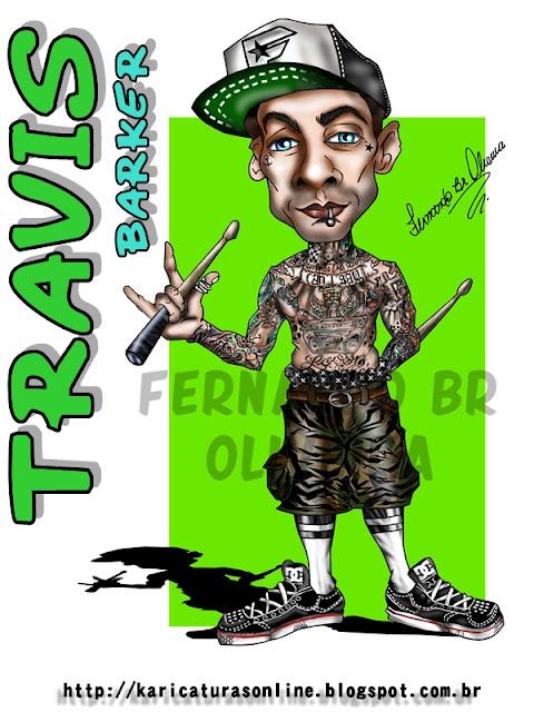 Travis Barker-Baterista-Blink 182-Caricaturas Online