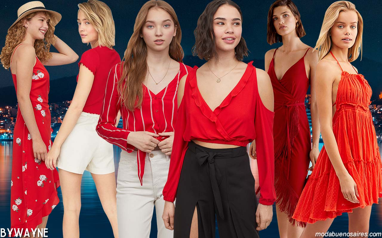 Vestidos, blusas, camisas, pantalones, remeras de moda primavera verano 2020 y el uso del rojo. │Moda colores primavera verano 2020.
