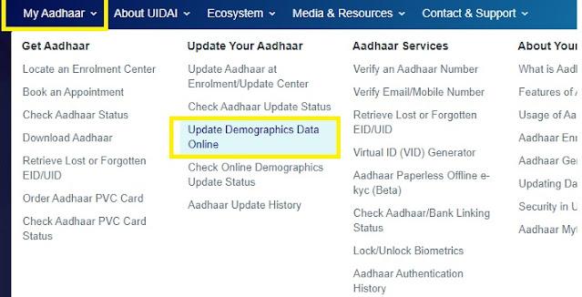 Aadhaar Card Address Update Online Hindi