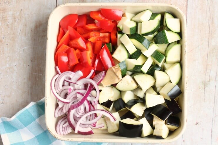 Ratatouille vegetables ready for the oven