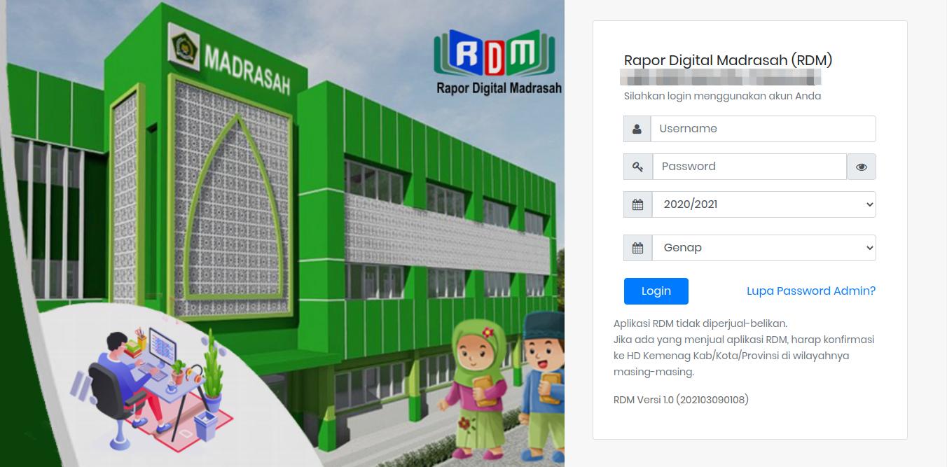 Tampilan halaman login RDM