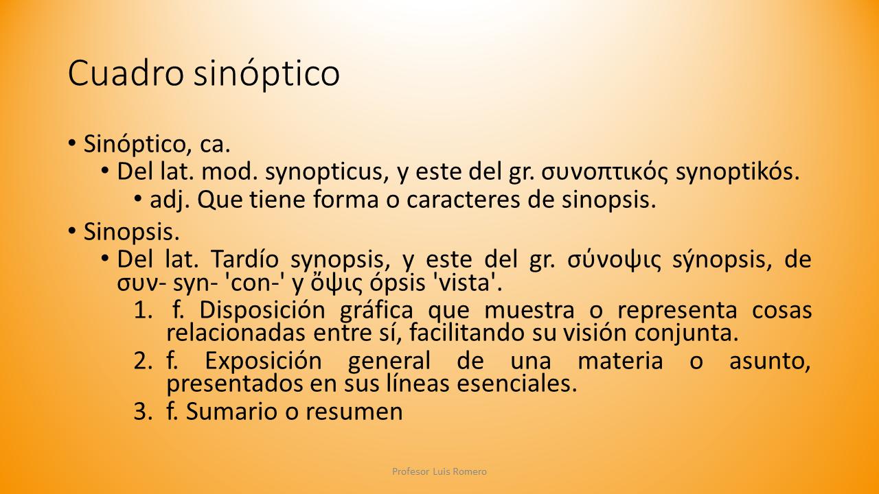Cuadro sinóptico en contabilidad   Profesor Luis Romero
