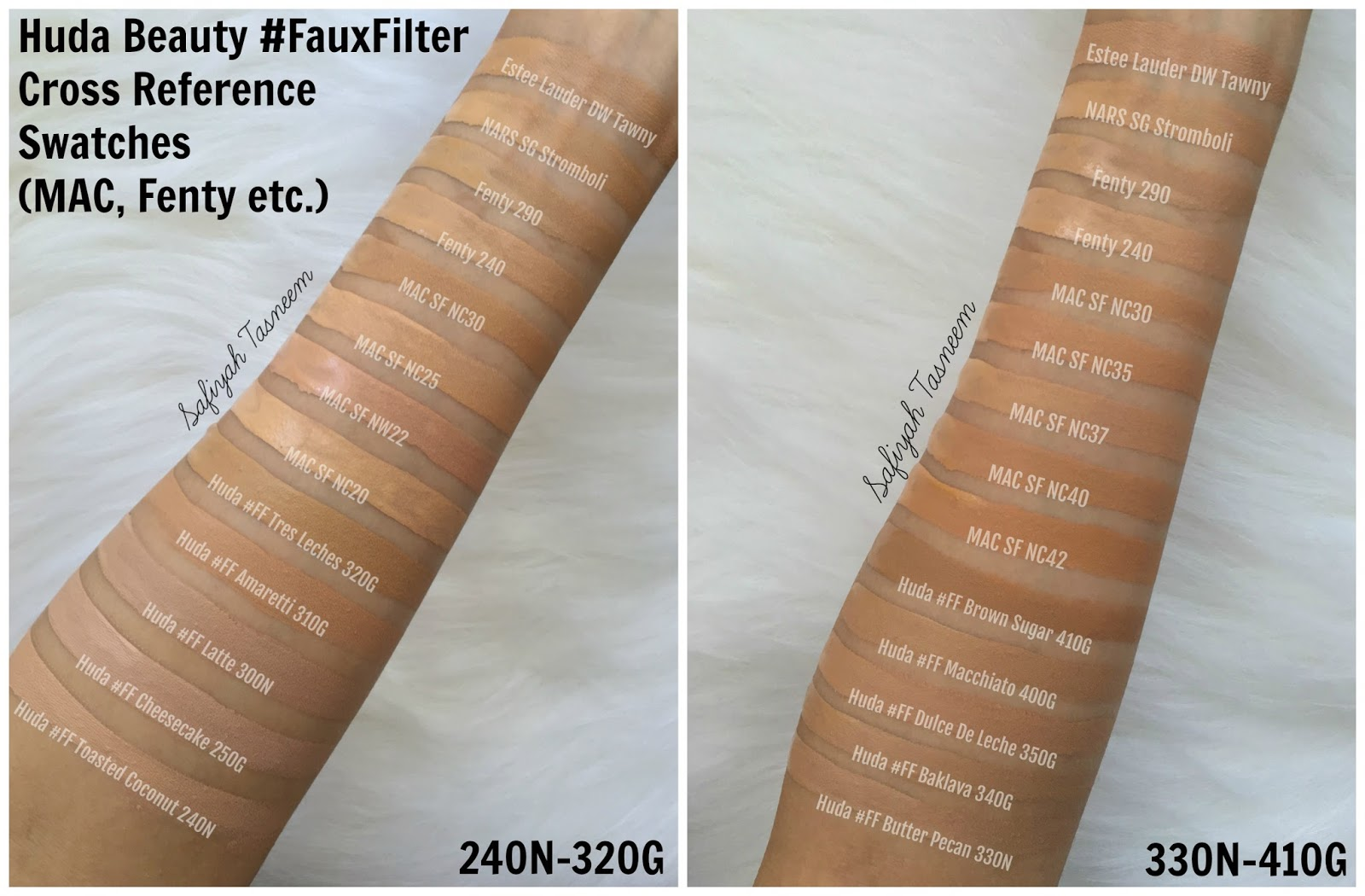 Safiyah Tasneem Sunday Swatches Foundation Files Huda Beauty