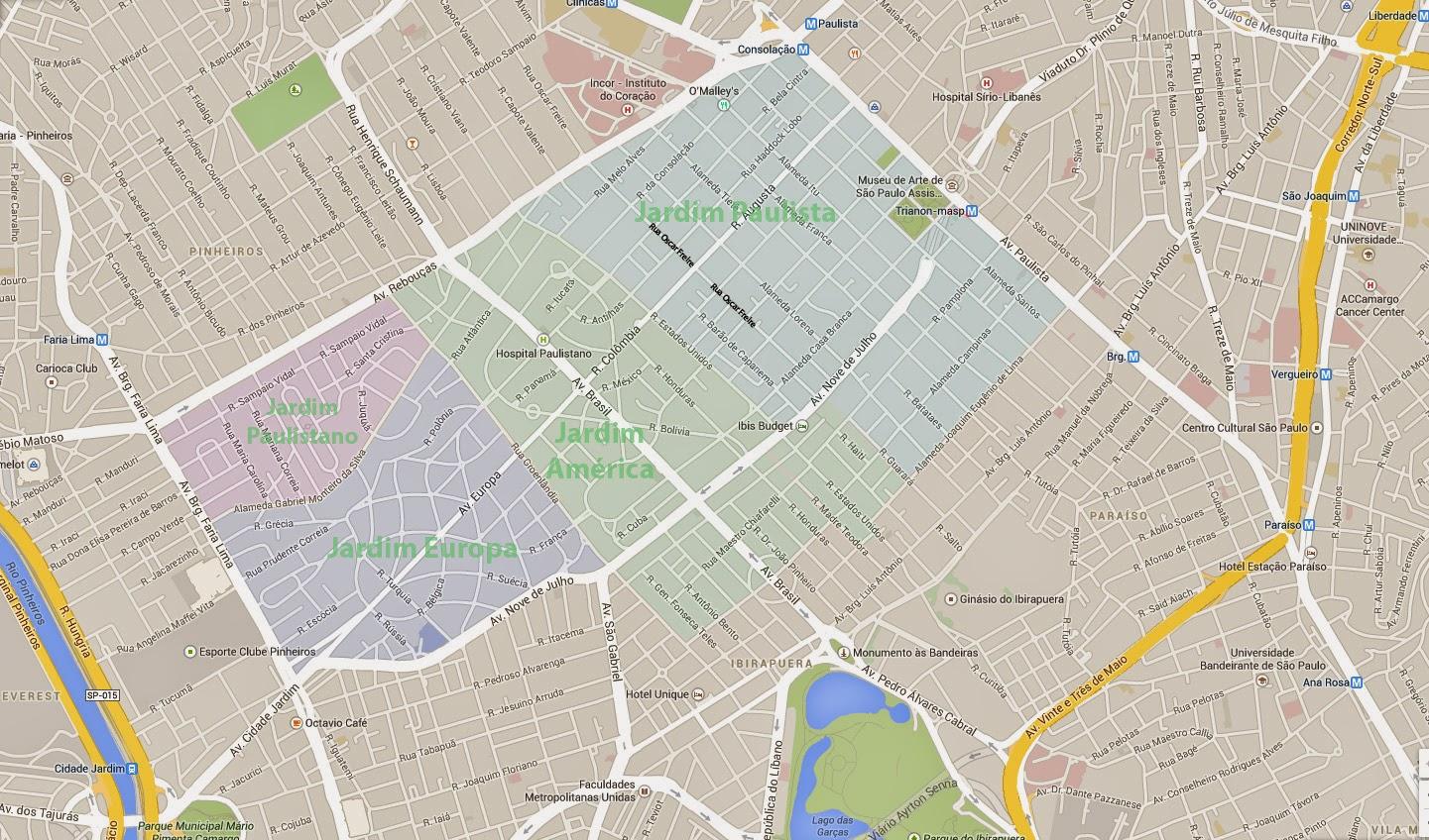 Jardim Paulista, Jardim América, Jardim Europa e Jardim Paulistano