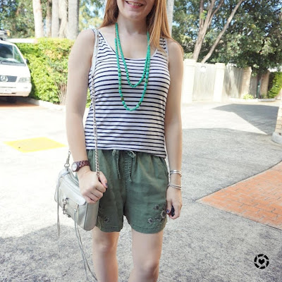 awayfromblue instagram stay at home mum errand style soft shorts striped tank