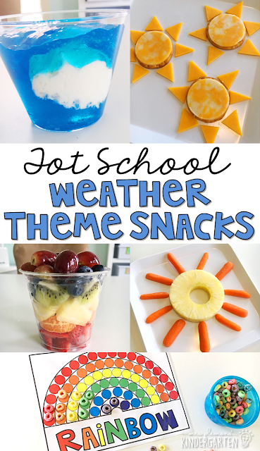 These yummy cloud, sun and rainbow themed snacks are perfect for a weather theme in tot school, preschool, or kindergarten!