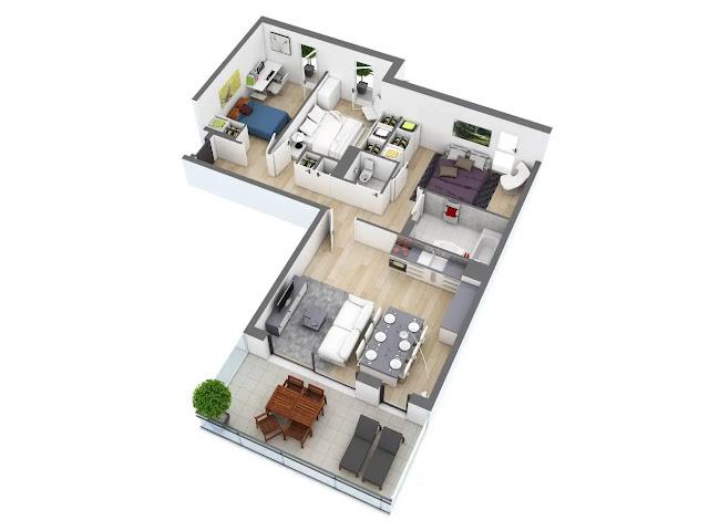 Referensi Denah Rumah Minimalis 3 Kamar Bentuk L