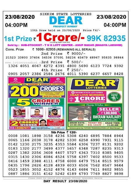 Lottery Sambad Result 23.08.2020 Dear Prospect Sunday 4:00 pm