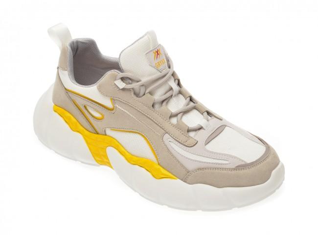 Pantofi sport dama albi, cu talpa groasa, din material textil si piele ecologica
