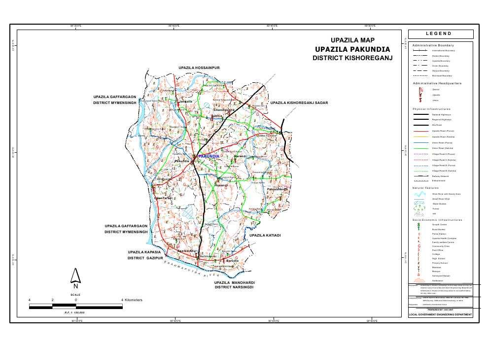 Pakundia Upazila Map Kishoreganj District Bangladesh