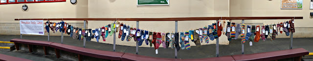 A panoramic photo taken to show a long line of socks which curved around the seating area.  There are approximately 60 pairs of socks hanging from a washing line which is strung to the wooden barrier above the maroon padded bench seats