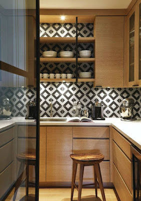 geometric white and black tile, modern kitchen, flat panel kitchen doors