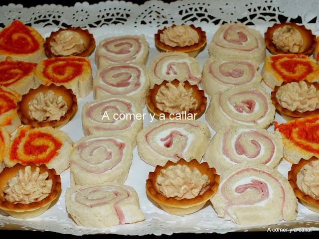A comer y a callar canapes de pan de molde espirales for Canapes faciles y rapidos frios