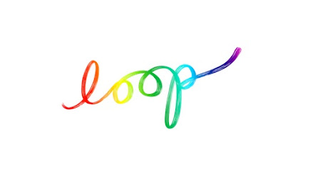 "The logo for PIXAR's animated short film Loop.  The word ""loop"" is written in rainbow-gradient lowercase script, on a white background."
