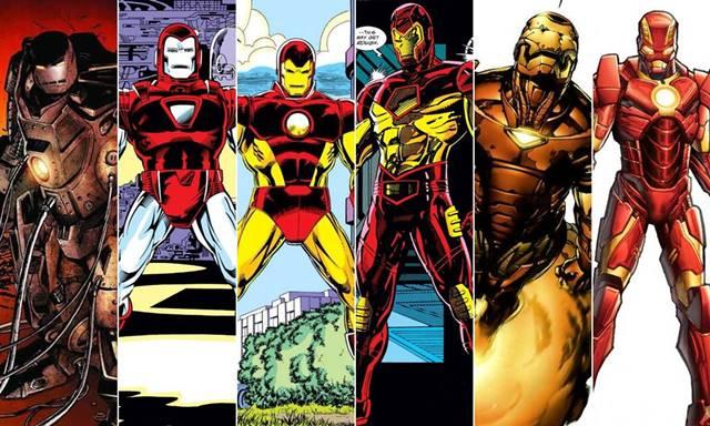 Evolución de las diferentes armaduras de Iron Man en el cómic