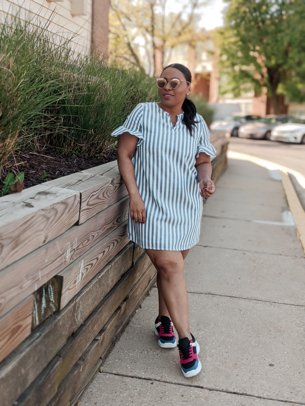 sneakers and dresses trend, shein, shein dress, pattys kloset, stripped dress, summer dresses