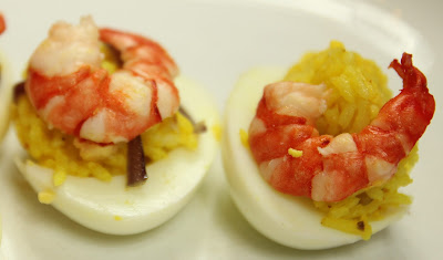 Prawn Kedgeree Stuffed Eggs. Gluten-free Recipe
