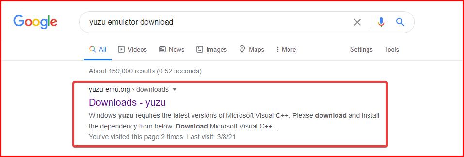 search yuzu emulator