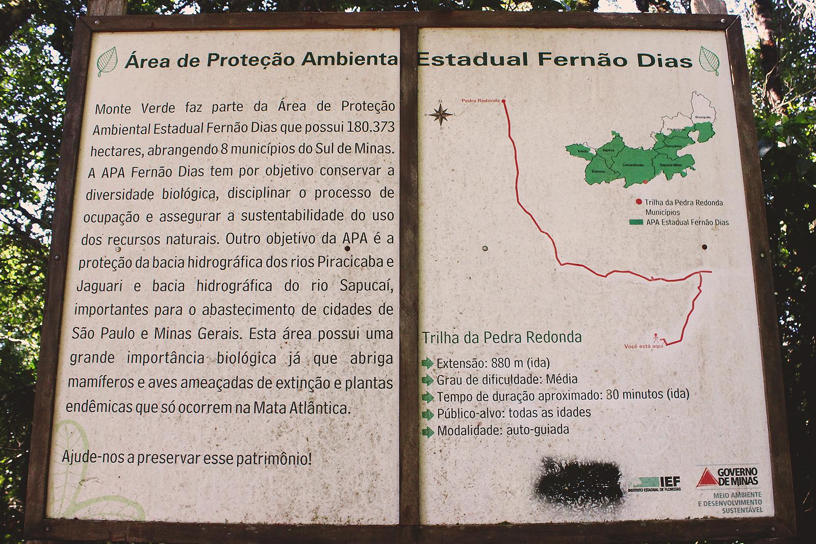 placa trilha monte verde minas gerais