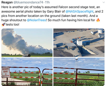 Peering through the fence for SpaceX test in McGregor, TX (Source: Twitter feed from Reagan, @bluemoondance72)