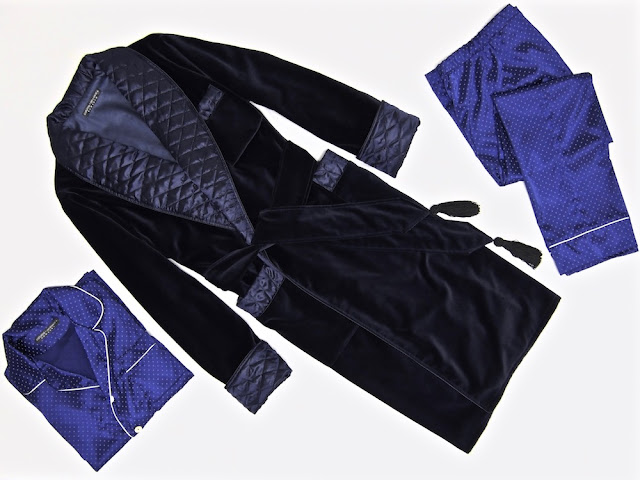 Mens velvet dressing gown quilted silk robe smoking jacket navy blue