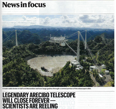 Oh, no, Is Arecibo really closing forever? (Source: A. Witze, Nature, 26 Nov 2020)