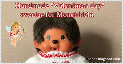 kiki monchhichi Valentine's Day sweater tricot knit handmade fait main