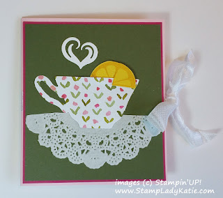 Tea Bag Holder Card made using Stampin'UP!'s Cups and Kettle Dies