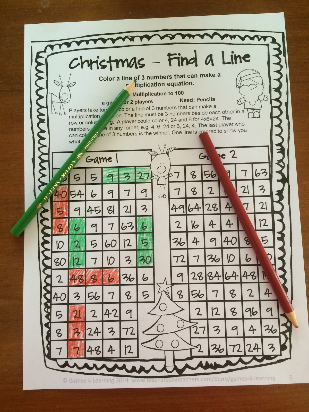 Fun Games 4 Learning Christmas Math Fun Freebie
