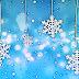 Blauwe winter wallpaper met sneeuwvlokken