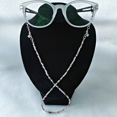 Tourmaline eyeglasses / face mask chain cum necklace cum layered bracelet