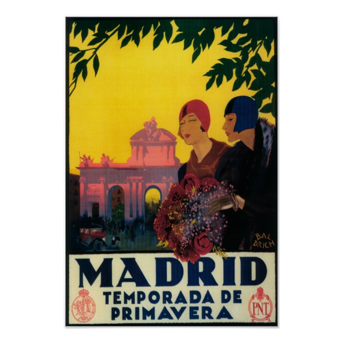 Madrid in Springtime - Vintage Promotional Poster