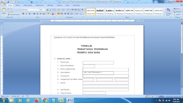 Contoh Terbaru Formulir Pendaftaran Penerimaan Peserta Didik Baru SD SMP SMA dan SMK