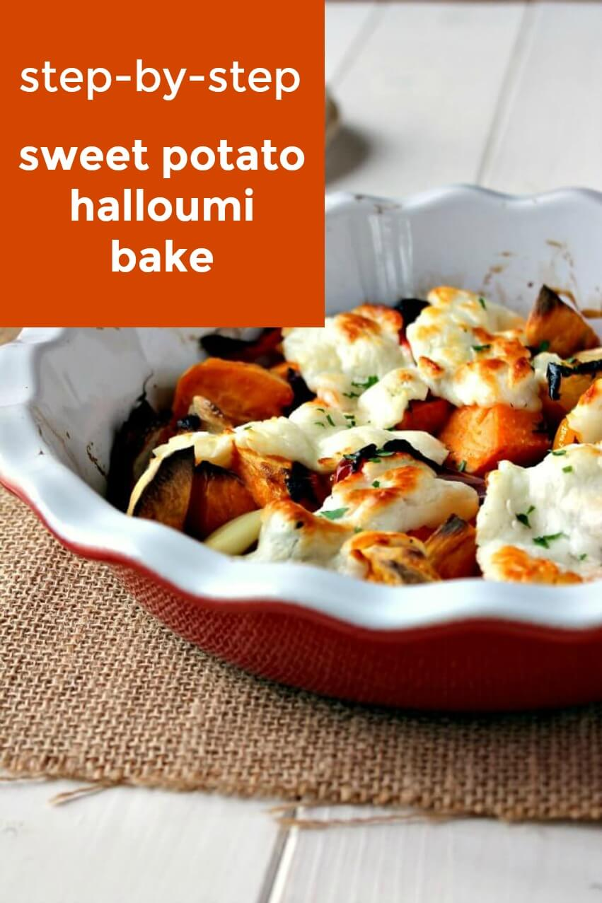 step by step sweet potato and halloumi bake