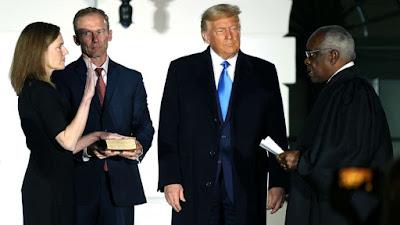 A new SCOTUS: A.C. Barrett being sworn in, D. Trump, Justice Thomas