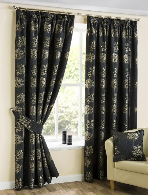Yorkshire Linen Oakley black and gold pencil pleat curtains