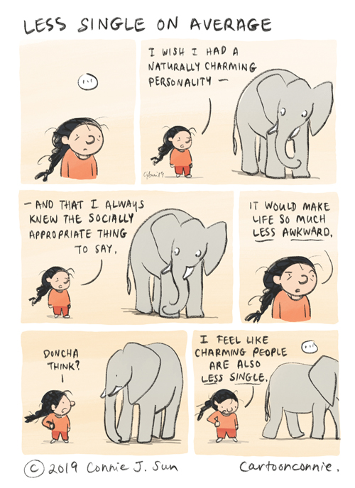 elephant, comic strip, humor, drawing, comics, cartoon, connie sun, cartoonconnie
