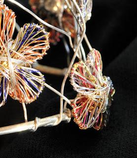 Blue and orange bracelet, solid silver bracelet for women