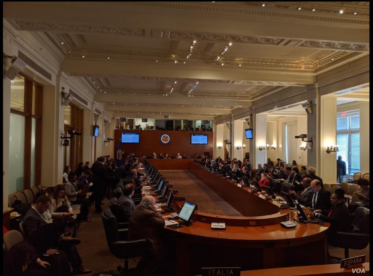 Sala de reuniones en la sede de la OEA en Washington DC. Foto de Herbert Zepeda / VOA