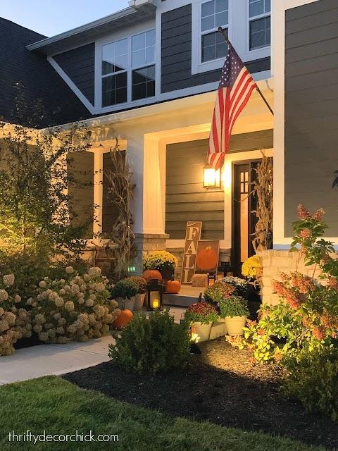 lanterns front porch fall decorating