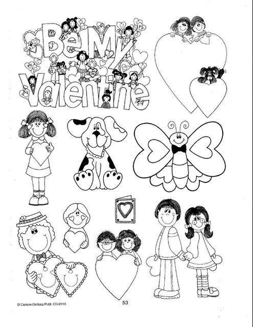 material para imprimir y recortar dibujos para hacer postales de San Valentín