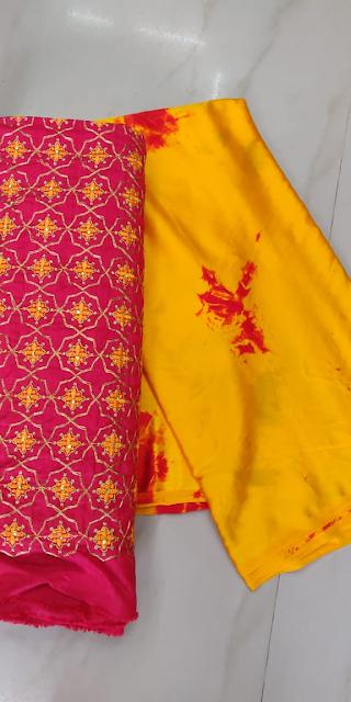 Satin Shibori Sarees With Designer Blouse