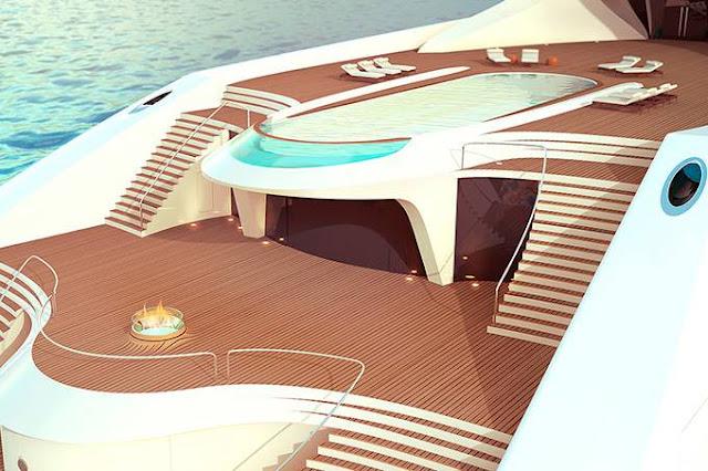 Novo projeto da Superyacht: Iate de luxo de quatro andares possui heliporto, piscina e até pista de dança